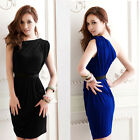 NEW Women Sexy Elegant Mini Dress Pleated Asymmetric One Shoulder Cocktail Party