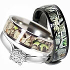 His TITANIUM Camo  Hers STERLING SILVER Wedding Rings Set Camouflage Black 3pcs