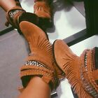 ZARA NEW A/W 2015/16. FLAT ETHNIC LEATHER FRINGED ANKLE BOOTS. REF 7802/001.