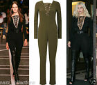 NEW KHAKI V NECK PLUNGE LACE TIE UP LONG SLEEVE FITTED JUMPSUIT PLAYSUIT 8 10 12