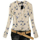 Fashion Womens Tops Elegant Bird Print Blouse Long Sleeve Casual Slim Shirts FKS