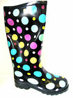 LADIES BLACK PULL ON WELLINGTON BOOTS WITH MULTI-COLOURED POLKA DOTS - X1109 CC
