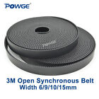 HTD 3M Open Timing Belt Wide 6mm 9mm 15mm Black Polyurethane CNC Laser Engraving