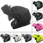 Leopard DVS Modular Flip Up Front Motorbike Helmet Motorcycle Crash BLACK WHITE