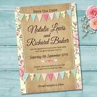 Personalised Wedding Day Save the Date Cards & Envelopes *Pastel Colour Bunting