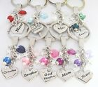 KEYRING - Hrt/Bd, Family Heart *other charms * Birthday,Xmas,Gift,Mum,Nan,Sister