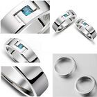 New S925 Silver Blue Crystal Sapphire Lovers Ring Love  Boy's Girl's Ring