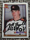 Jeff Bagwell SIGNED 1991 Topps Rookie card #4T w/COA Houston Astros