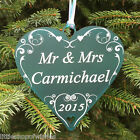 Christmas Personalised Mr & Mrs Heart Swirl Tree Bauble Decoration Gift Present