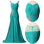 Long Beaded Bridesmaid Evening Wedding Masquerade Party Ball Gown Prom Dresses