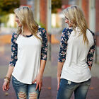 Fashion Women Long Sleeve Shirt Casual Floral Print Loose Cotton Tops T Shirt
