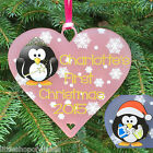 Babies First Christmas Heart Bauble Penguin Decoration Personalised Gifts 1st