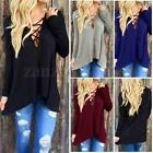 Sexy Womens Front Cross Plunge Lace Up Tie Casual Stretch Tops Hoodie Tee Shirt