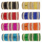 PACK OF 48 MIRROR GLITTER INDIAN BANGLES CHURI BOLLYWOOD JEWELLERY SET (H)