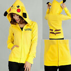 Pikachu Anime Cosplay Hooded Sweater Jacket Zipper Hoodies Ear Coat Halloween