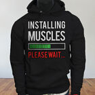 Workout Lifting  Installing Muscles Please Wait Mens Black Hoodie