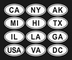 Usa 50 States Euro Style Oval Vinyl Bumper/window Stickers