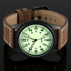 Luminous Dial Retro Leather Analog Black Sport Miliatry Mens Watch Infantry+Box