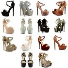NEW LADIES HIGH HEEL OPEN TOE ANKLE BUCKLE PLATFORM SANDALS WOMENS SHOES SIZE UK