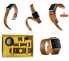 3in1 Single Double Tour Cuff Leather Bracelet Strap Band for Apple Watch 38/42mm