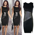 Sexy Women Ladies Black OL Work Bodycon Sleeveless Party Cocktail Evening Dress
