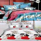3D Animal Printed Bedding Set With Fitted Bed Sheet + Pillow Cases