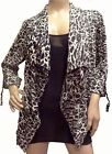 MULTIPLE SIZES-Women's Black and White Animal Print Drape Front Cardigan Jacket