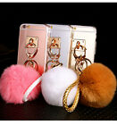Luxury Rabbit Fur Soft Rubber Clear TPU Cover Mirror Back Case for Verious Phone