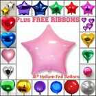 SOLID COLOUR ROUND HEART STAR Shape Wedding Birthday Party Helium Foil Balloons