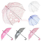 New Transparent Clear Bubble Flower Lace Rain Umbrella Parasol Photo Party Favor