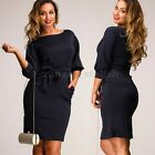Plus Size XL-5XL Women 3/4 Sleeve Bowknot Pockets Bodycon Formal Evening Dress