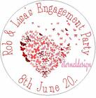Personalised High Gloss Engagement Party Circle Stickers 7 Sizes EPCS20