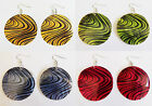 YELLOW, GREEN, BLUE, RED FASHION EARRINGS WITH BLACK SWIRLS.