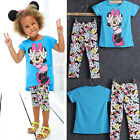 NEW Baby Girls Minnie T-Shirt Tops + Trousers Set Kids Summer Outfits 2-7Years