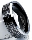 Mens Black Tungsten Carbide Lords Prayer Ring 8MM - Size 7.5 to 14.5