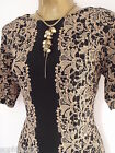 New M&S Tunic Bodycon Dress Size 12 or 14 Floral Lace Effect Black Gold Party