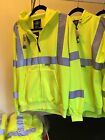 Men's Hi-Visibility Full Zip Hooded Sweatshirt Lime Yellow Safety Reflective
