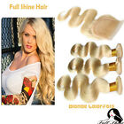 100% Peruvian Blonde Human Hair Weaving Body Wave 3 Bundles with 1 Lace Closure