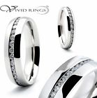 Stainless Steel Wedding Band Eternity CZ Ring 4mm 6mm 8mm Size 4 to 13.5