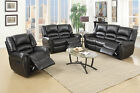 Black Bonded Leather Motion Sofa and Loveseat Set Optional Glider Recliner Chair