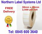 38mm x 20mm WHITE Direct Thermal Labels 2,500 per roll for Zebra type printer