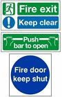 Safety Stickers - Fire Exit Keep Clear - Push Bar to Open - Fire Door Keep Shut