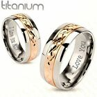 PERSONALIZED SILVER & GOLD TITANIUM COUPLES LOVE RING SET ENGRAVED His & Hers
