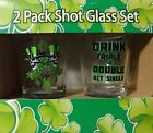 NEW 2 Glass St Patricks Day Shot Glasses
