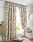 Red & Cream Floral TULIP Pencil Pleat Lined Curtains