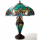Tiffany Style Halston Light Turquoise Amber Art Glass Table Lamp Double Lit 2+1