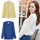 Summer Women Button Down Shirt Casual Long Sleeve Slim T-shirt Tops Blouse NEW