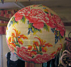 Oriental Style Floral, Globe-Shaped Lampshade. Blue .Red. Turquoise & White.