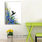 Surfing Watercolour Stretched Canvas Print Framed Wall Art Decor Painting Gift