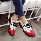 Casual Multi Color Womens Ladies Lace Up Flat Heels Brogues Carved British Shoes